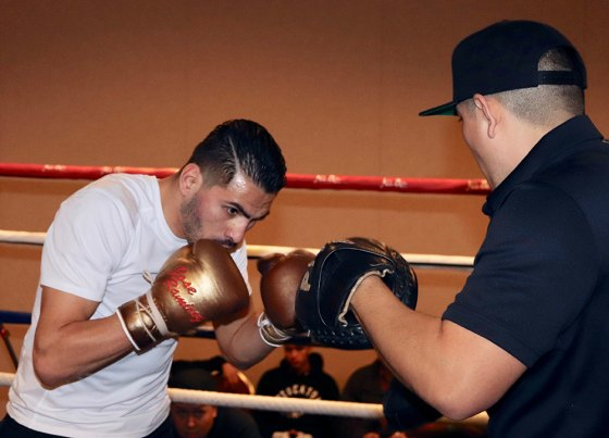 WBC Super Lightweight Champ Jose Ramirez was at The Tachi Palace Hotel & Casino Wednesday preparing for his Sunday title bout at Fresno's Save Mart Center. Here, he's sparring with his trainer.
