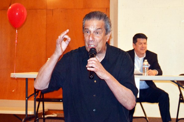 "Jon ""Bowzer"" Bauman, a founding member of Sha Na Na, and currently president of Social Security Works, spoke to seniors at a Congressional forum sponsored by the California Alliance for Retired Americans."