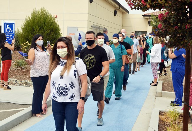 A United States Air Force medical team from Travis Air Force Base says goodbye to Hanford and Adventist Health as they march to a sentimental sendoff Friday morning.