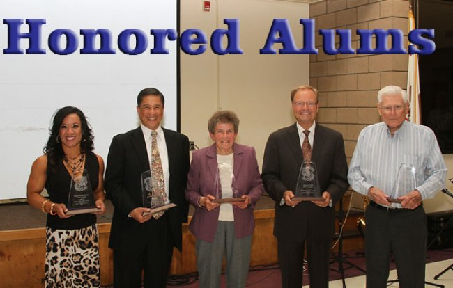 The newest members of the Lemoore Foundation Hall of Fame (left to right) Frances Perkins, Dr. Elbert Acosta, Lois Hubanks, Bob Clement and Allen Short.
